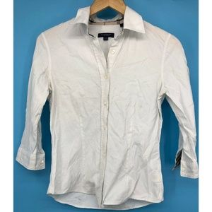 Burberry London Womens Top Button Up Small White
